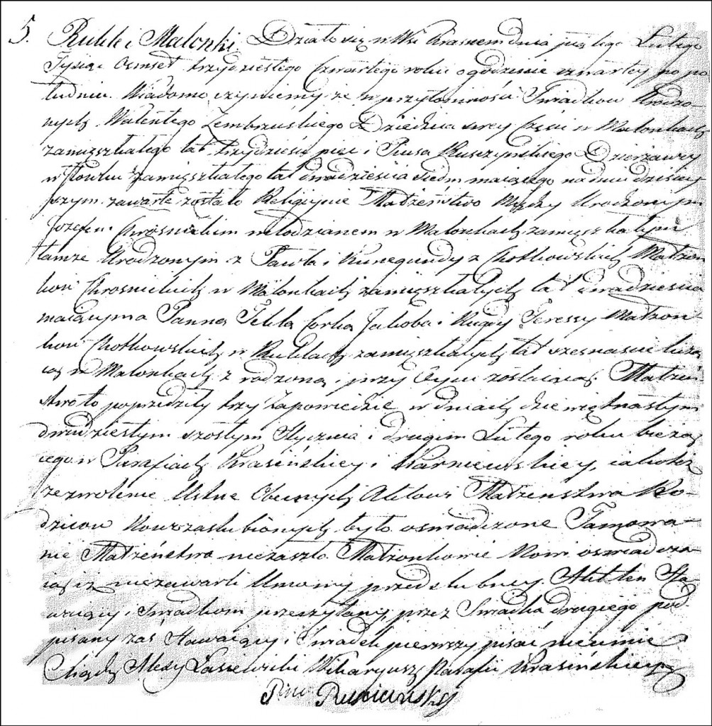The Marriage Record of Józef Krosnicki and Tekla Chodkowska - 1834