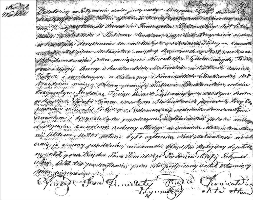 The Marriage Record of Rajmund Rutkowski and Katarzyna Konarzewska - 1858