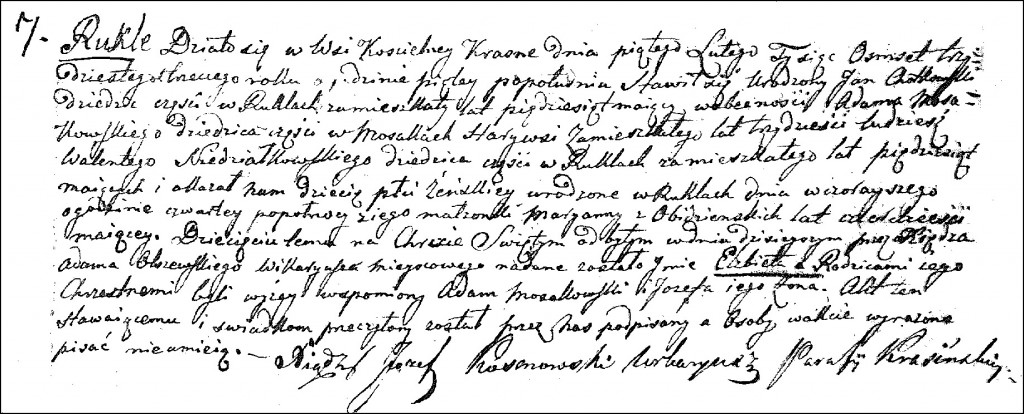 The Birth and Baptismal Record of Elżbieta Chodkowska - 1833