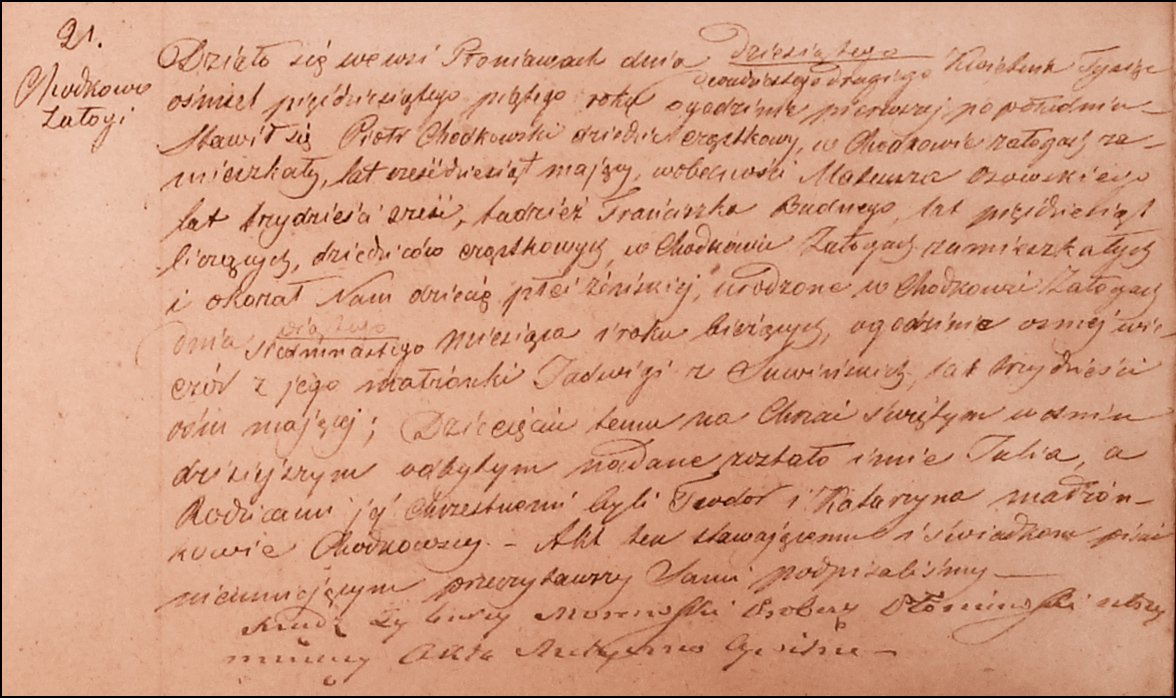 Birth and Baptismal Record for Julia Chodkowska – 1855