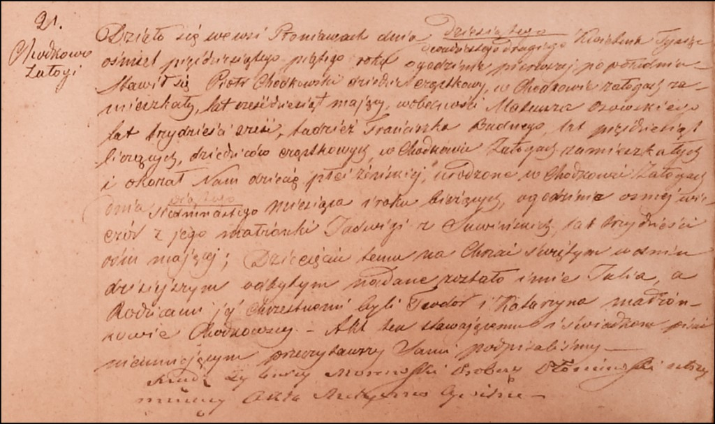 The Birth and Baptismal Record of Julia Chodkowska - 1855