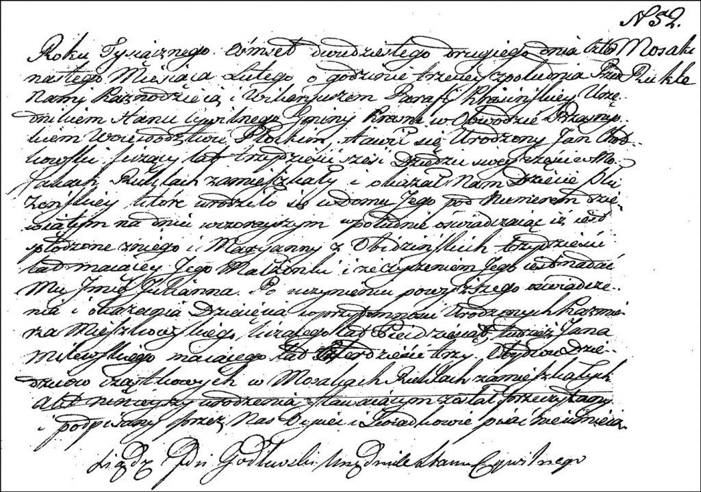 The Birth and Baptismal Record of Julianna Chodkowska - 1822
