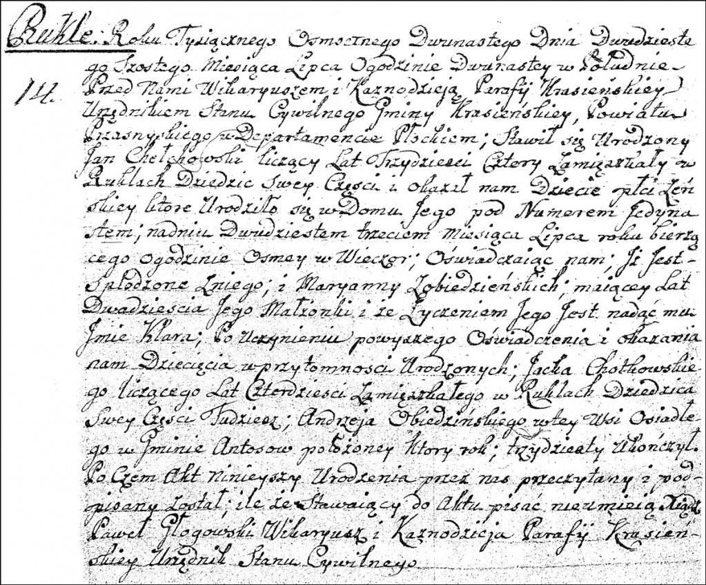 The Birth and Baptismal Record of Klara Chodkowska - 1812