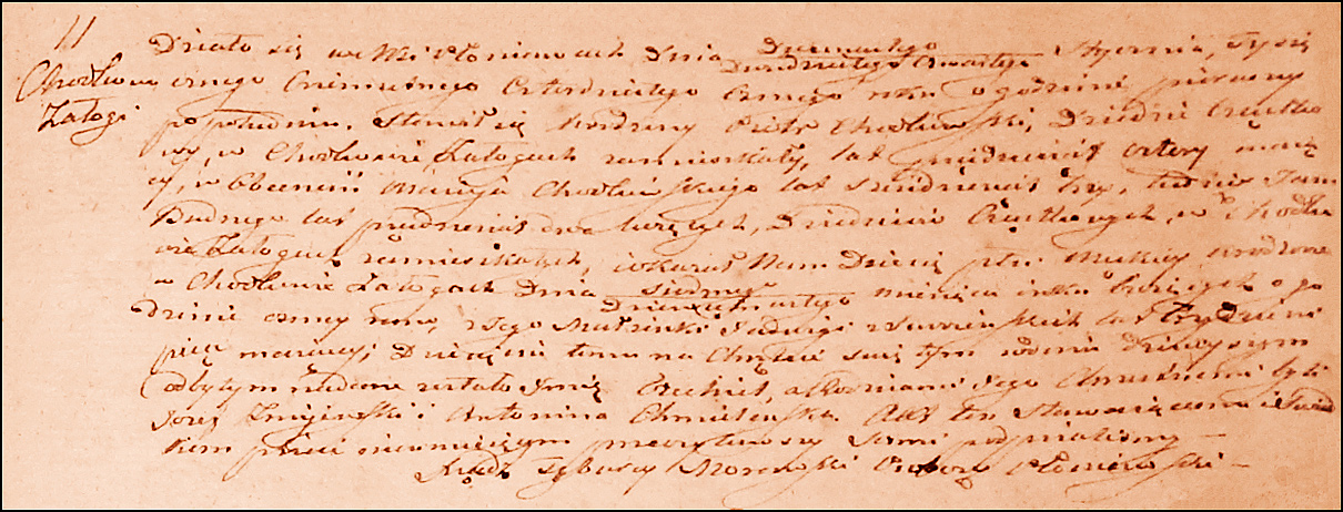 Birth and Baptismal Record for Ezechiel Chodkowski – 1848