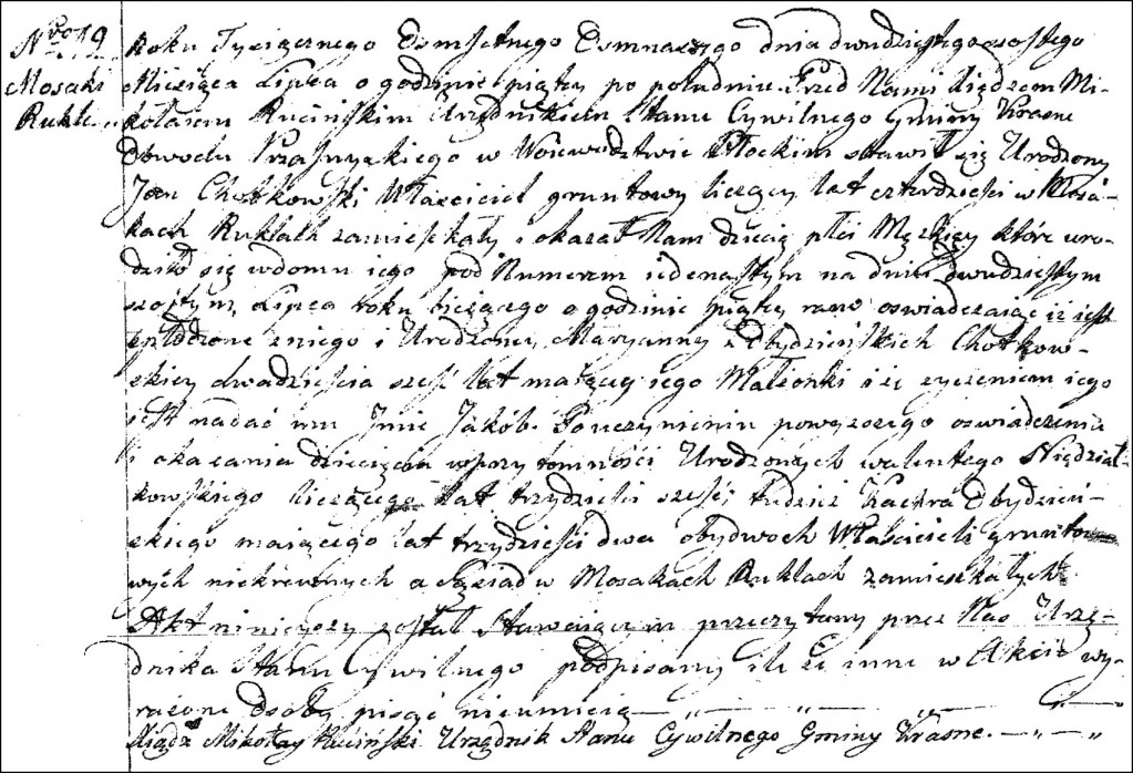 The Birth and Baptismal Record of Jakub Chodkowski - 1818