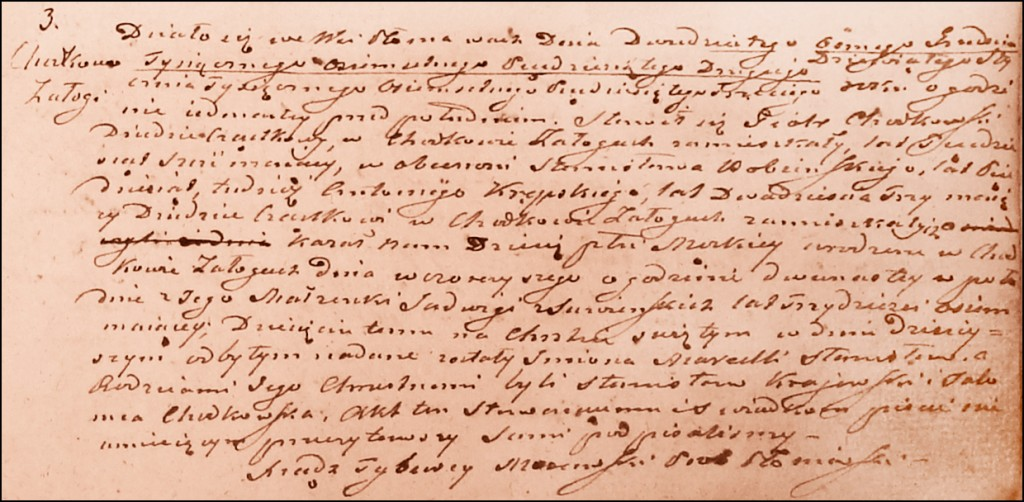 The Birth and Baptismal Record of Marceli Stanisław Chodkowski - 1853