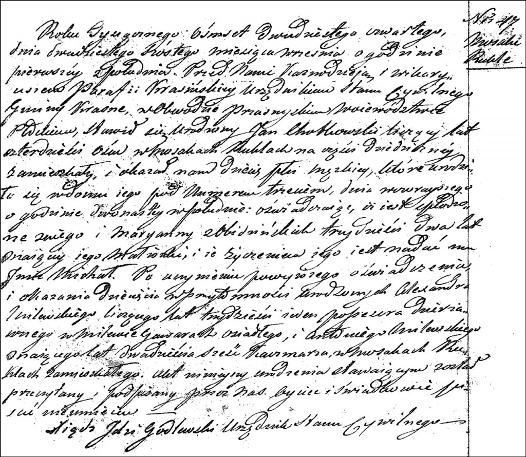 The Birth and Baptismal Record of Michał Chodkowski – 1824