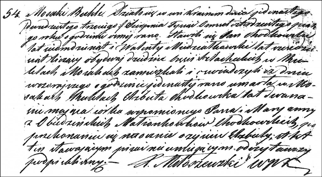The Death and Burial Record of Elżbieta Chodkowska - 1845