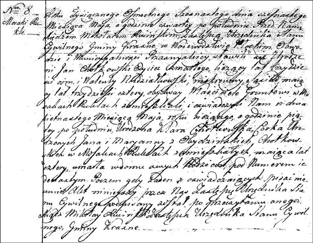 The Death and Burial Record of Klara Chodkowska - 1816
