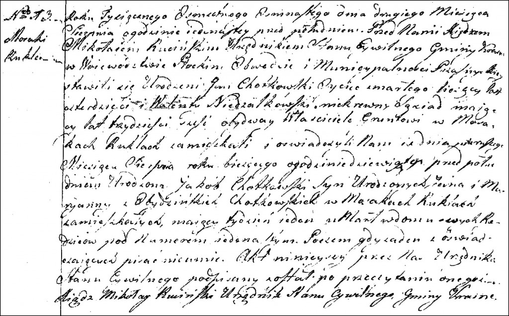 The Death and Burial Record of Jakub Chodkowski - 1818