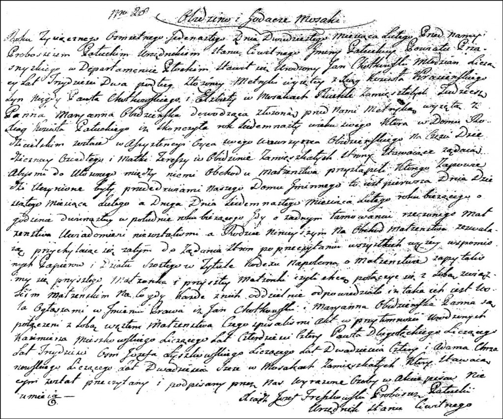 The Marriage Record of Jan Chodkowski and Marianna Obidzińska - 1811