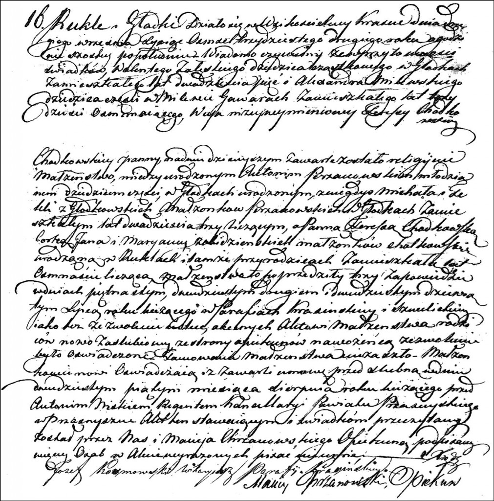 The Marriage Record of Antoni Perzanowski and Teresa Chodkowska -1832