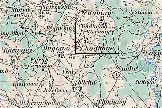 Austrian Military Map of the Chodkowo (Chotkowo) Area - 1910
