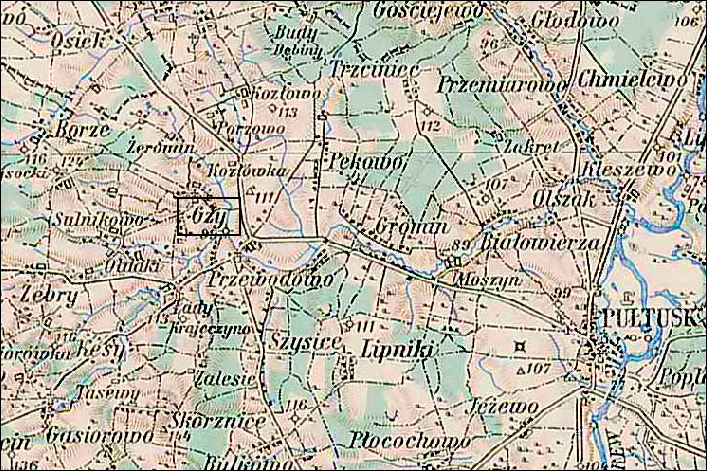 Map of the Polish Village of Gzy