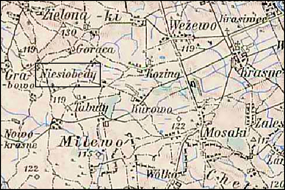 Austrian Military Map of the Niesiobędy Area – 1910