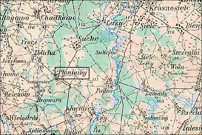 Austrian Military Map of the Płoniawy Area - 1910
