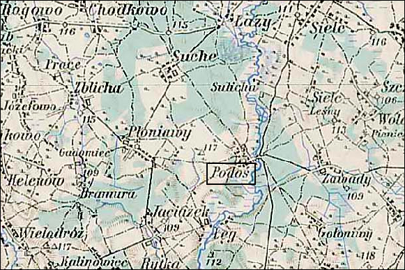 Austrian Military Map of the Podoś Area – 1910