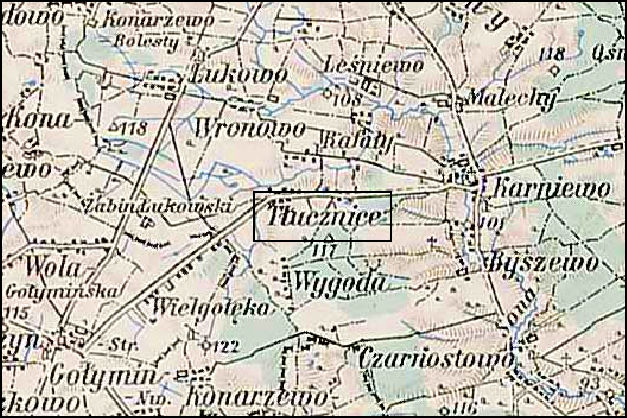 Austrian Military Map of the Tłucznice Area – 1910