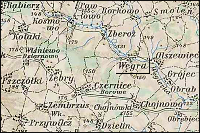 Austrian Military Map of the Węgra Area – 1910