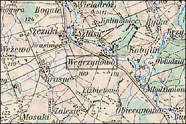 Austrian Military Map of the Węgrzynowo Area – 1910