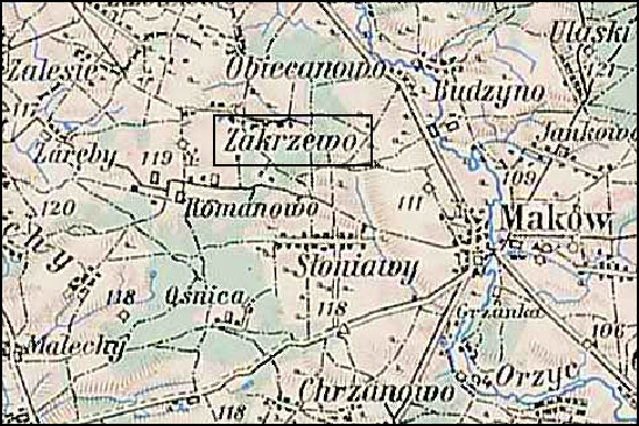 Austrian Military Map of the Zakrzewo Area - 1910