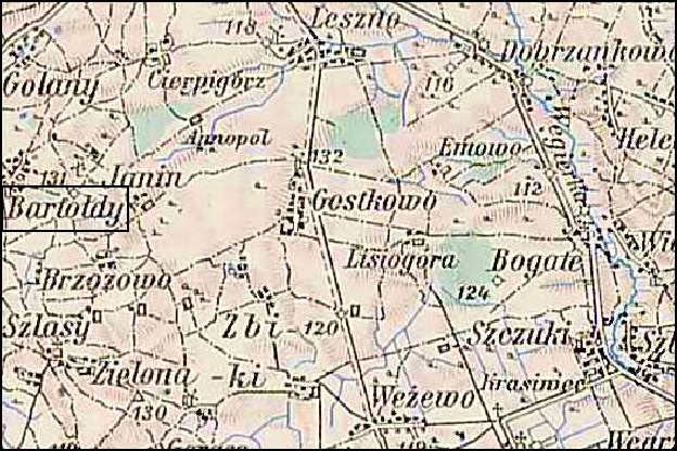 Austrian Military Map of the Bartołdy Area – 1910