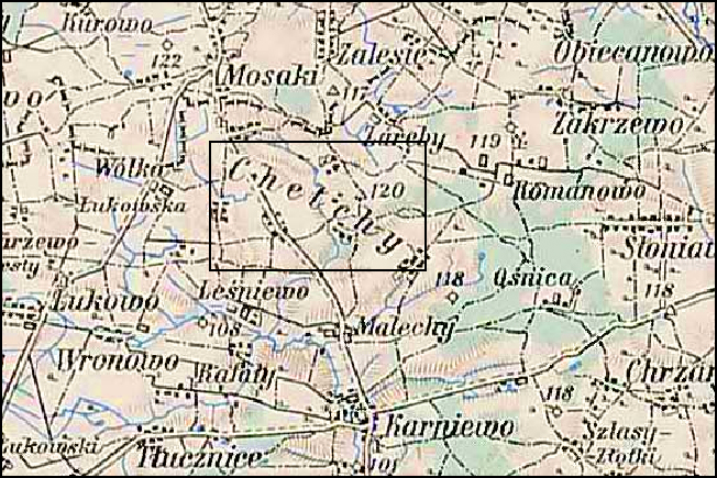 Austrian Military Map of the Chełchy Area - 1910