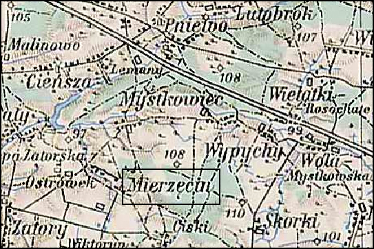 Austrian Military Map of the Mierzęcin Area - 1910