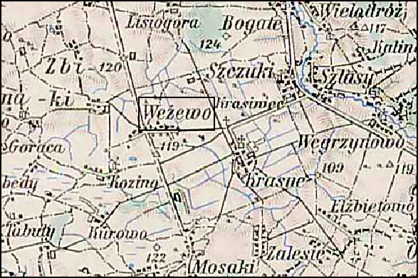 Austrian Military Map of the Wężewo Area – 1910