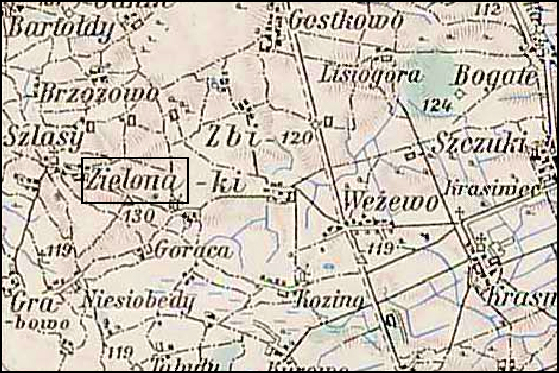Austrian Military Map of the Zielona Area – 1910