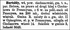 Słownik Geograficzny Entry for Bartołdy