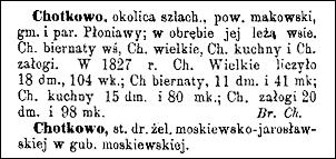Słownik Geograficzny Entry for Chodkowo (Chotkowo)