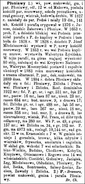 Słownik Geograficzny Entry for Płoniawy
