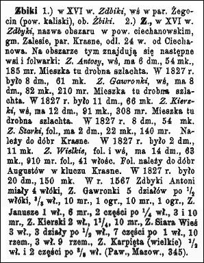 Słownik Geograficzny Entry for Zbiki