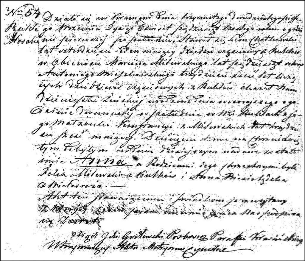 The Birth and Baptismal Record of Anna Chodkowska – 1856