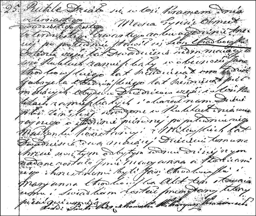 The Birth and Baptismal Record of Marianna Chodkowska – 1844