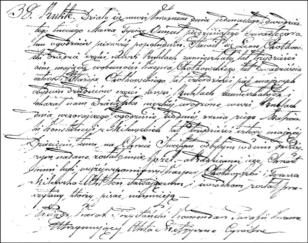 The Birth and Baptismal Record of Józef Chodkowski – 1854