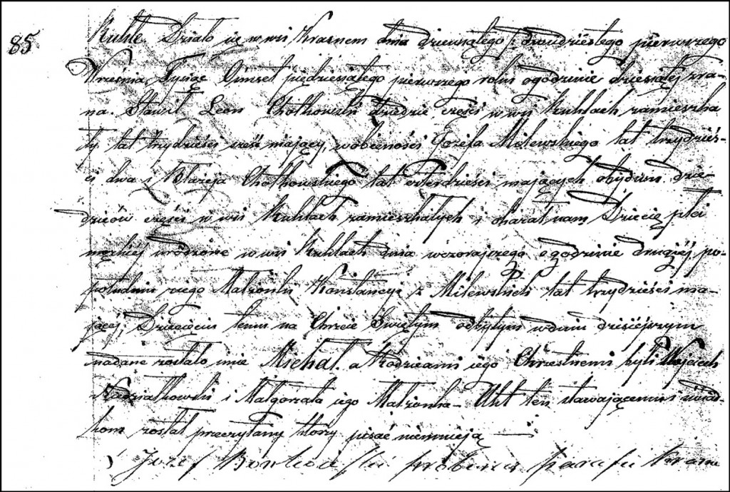 The Birth and Baptismal Record of Michał Chodkowski – 1851