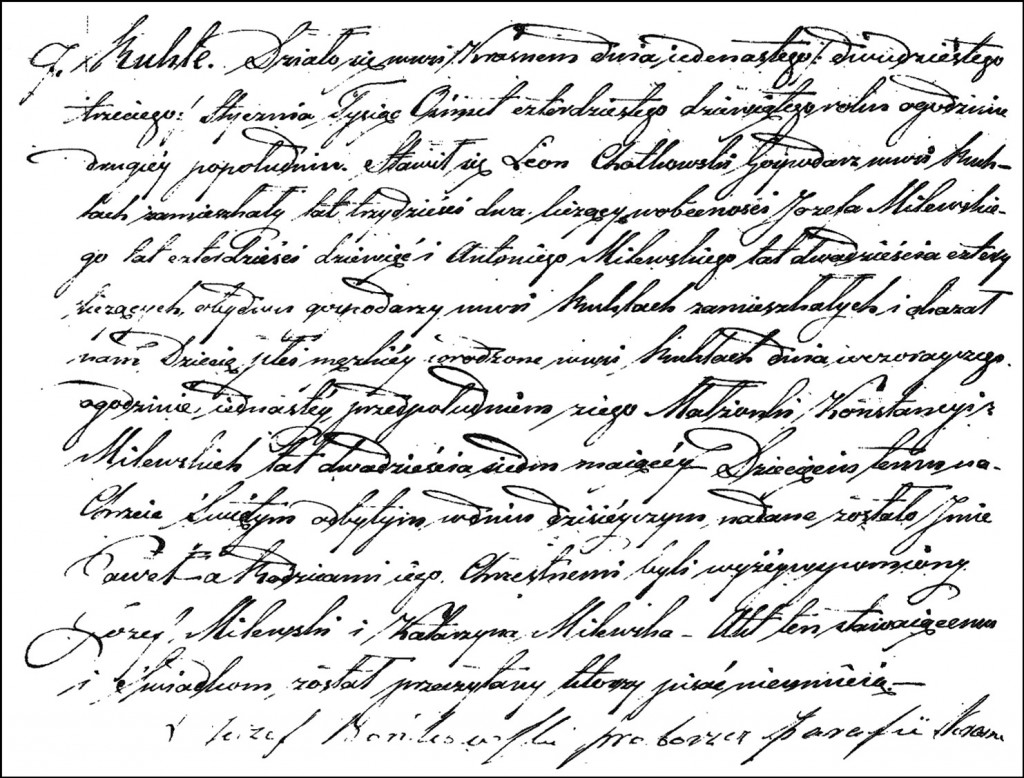 The Birth and Baptismal Record of Paweł Chodkowski – 1849