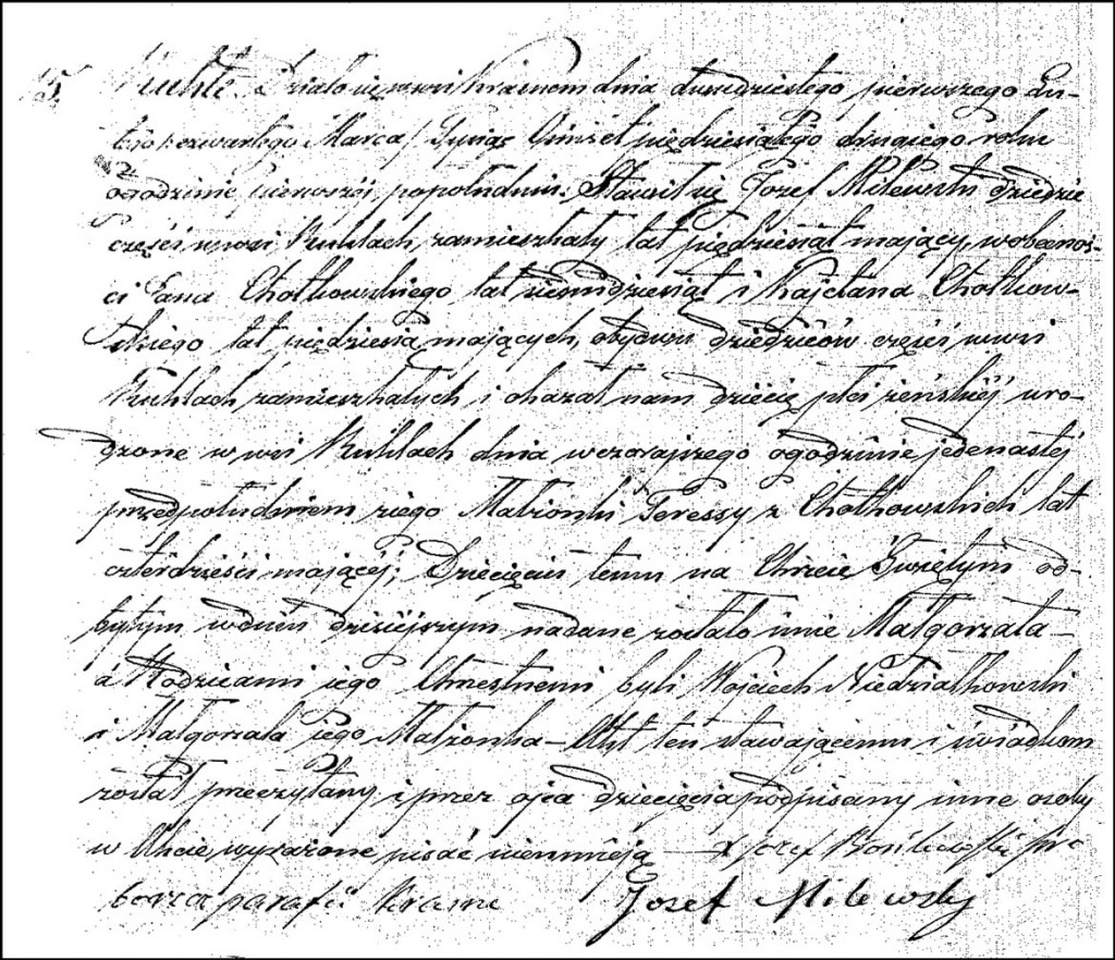 The Birth and Baptismal Record of Małgorzata Milewska - 1852