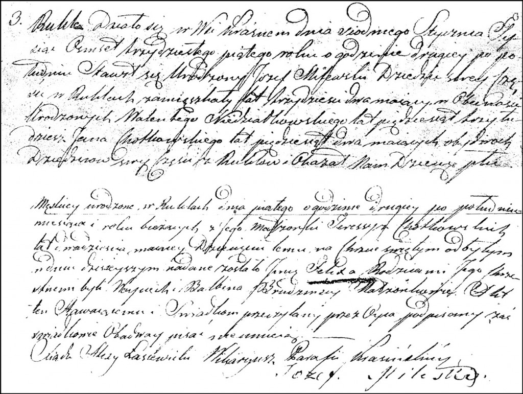 The Birth and Baptismal Record of Felix Milewski - 1835