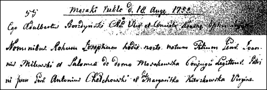 The Birth and Baptismal Record of Józef Milewski - 1799