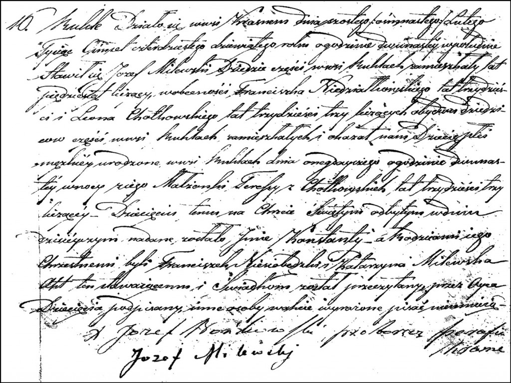 The Birth and Baptismal Record of Konstanty Milewski - 1849