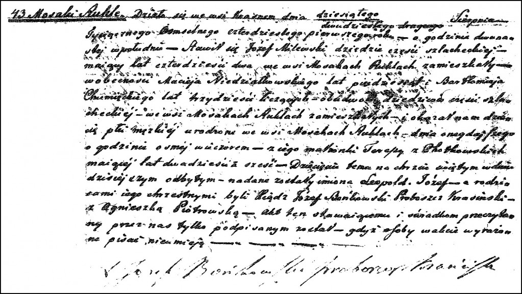 The Birth and Baptismal Record of Leopold Józef Milewski – 1841
