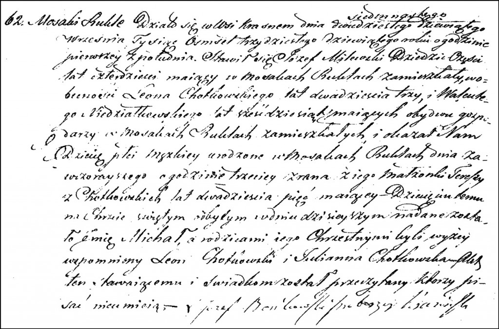 The Birth and Baptismal Record of Michał Milewski - 1839