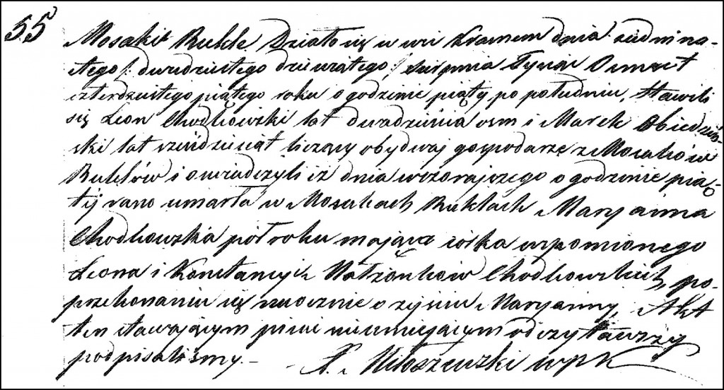 The Death and Burial Record of Marianna Chodkowska – 1845
