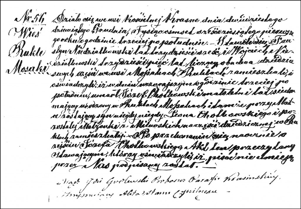The Death and Burial Record of Józef Chodkowski – 1861