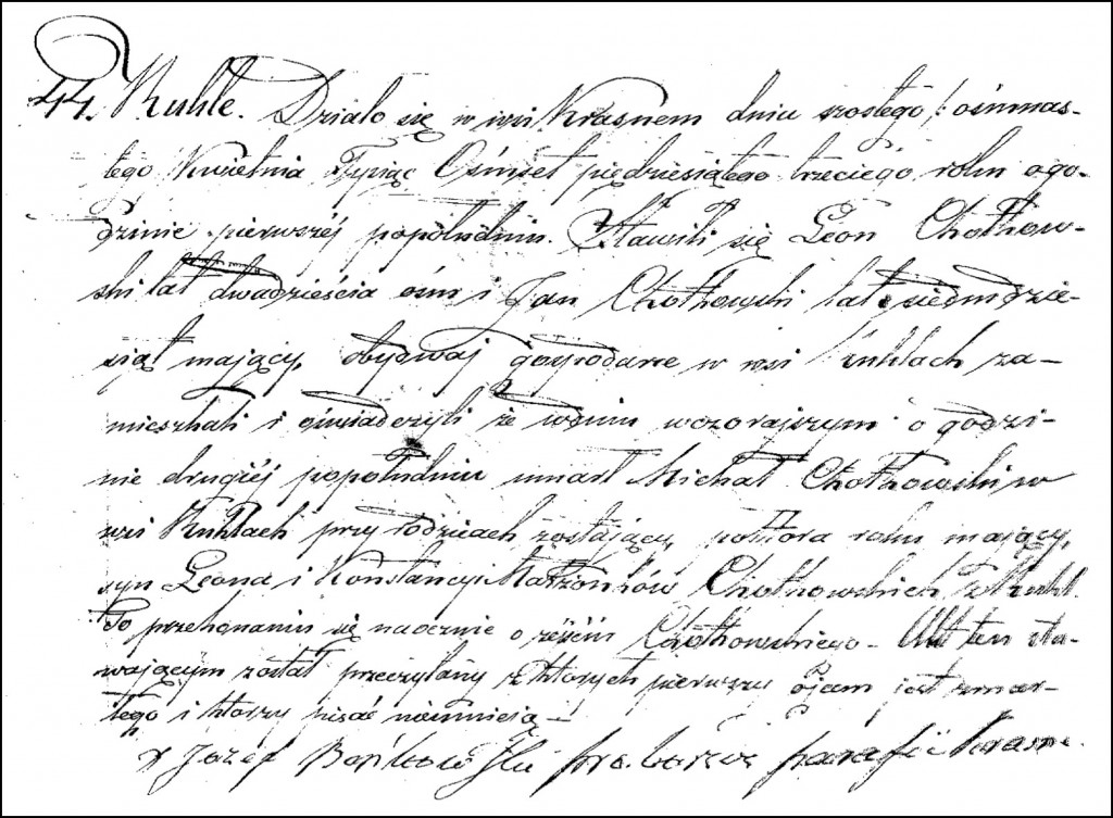 The Death and Burial Record of Michał Chodkowski – 1853
