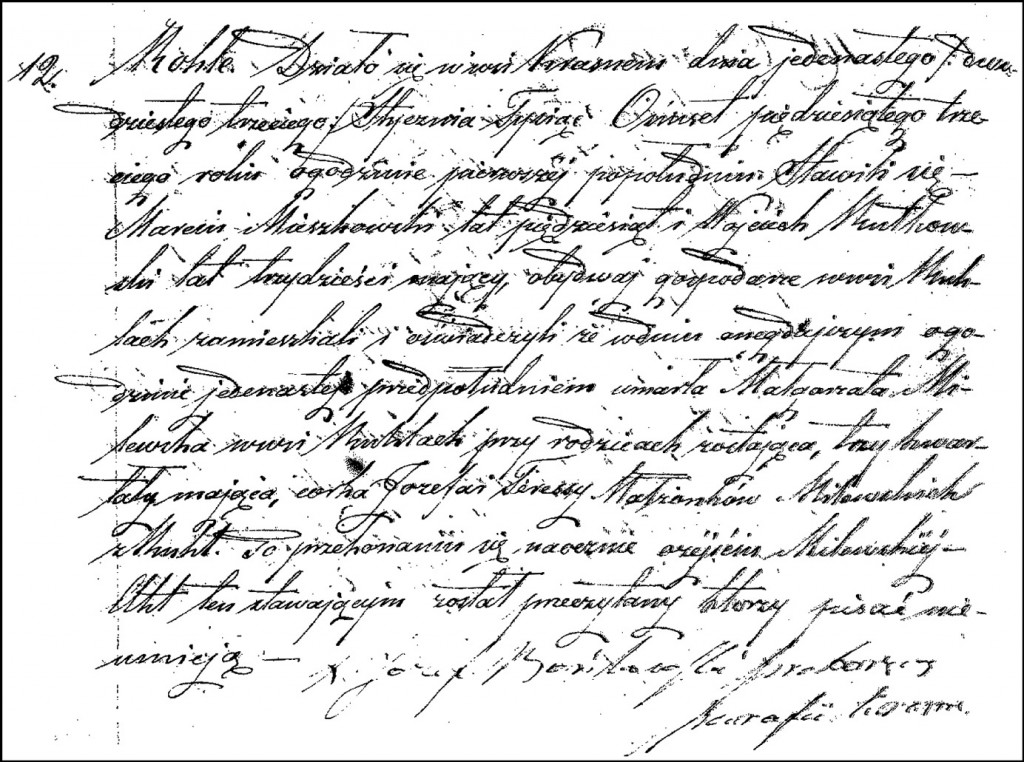 The Death and Burial Record of Małgorzata Milewska – 1853