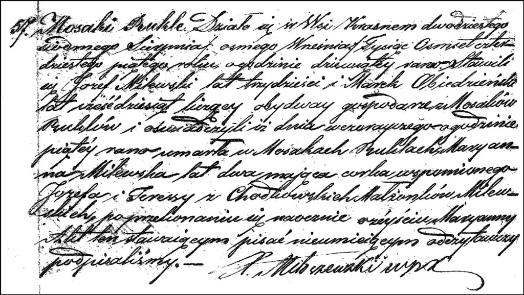 The Death and Burial Record of Marianna Milewska - 1845